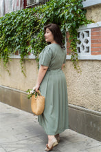 Load image into Gallery viewer, back view of plus size green maxi dress with side ties