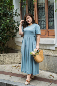plus size blue maxi dress with side ties