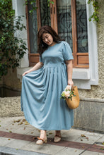 Load image into Gallery viewer, plus size blue maxi dress with side ties