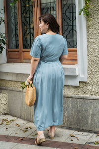 back view of plus size blue maxi dress with side ties