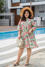 Load image into Gallery viewer, plus size green and pink floral print baby doll dress