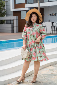 plus size green and pink floral print baby doll dress