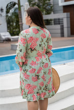 Load image into Gallery viewer, back view of plus size green and pink floral print baby doll dress