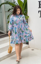 Load image into Gallery viewer, plus size purple and blue floral baby doll dress