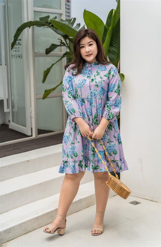 plus size purple and blue floral baby doll dress
