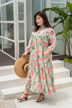Load image into Gallery viewer, plus size green and pink floral maxi dress