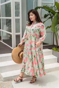 plus size green and pink floral maxi dress