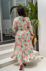 back view of plus size green and pink floral maxi dress