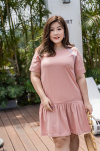 plus size pink drop waist dress with lace detail