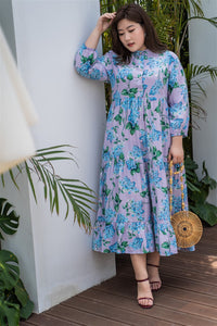 plus size purple and blue floral maxi dress
