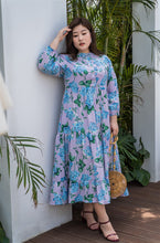Load image into Gallery viewer, plus size purple and blue floral maxi dress