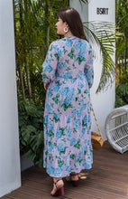 Load image into Gallery viewer, back view of plus size purple and blue floral maxi dress