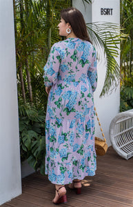 back view of plus size purple and blue floral maxi dress