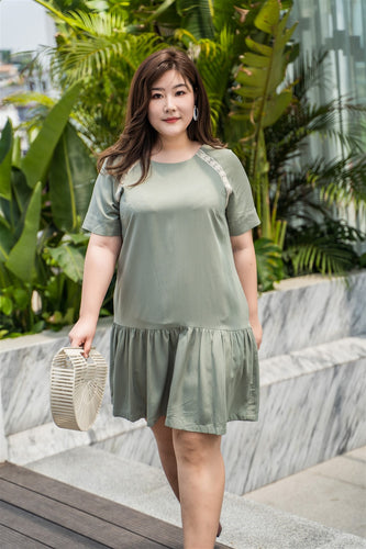 plus size green drop waist dress with lace details