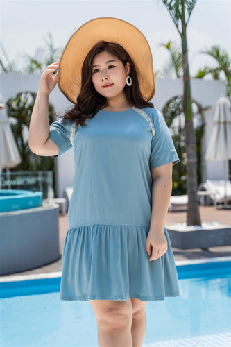plus size blue drop waist dress with lace detail