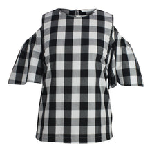 Load image into Gallery viewer, Plus size Cold Shoulder black and white Gingham Top