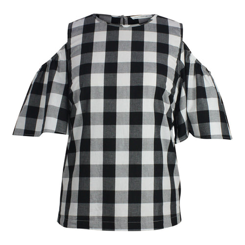 Plus size Cold Shoulder black and white Gingham Top