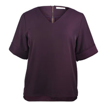 Load image into Gallery viewer, plus size dark purple v neck boxy top