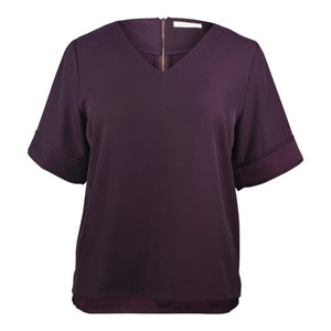 plus size dark purple v neck boxy top