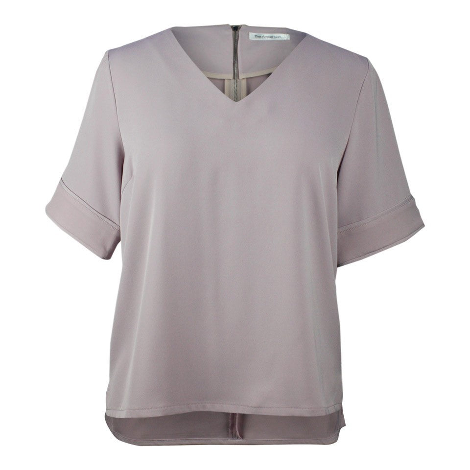 plus size light purple v neck boxy top
