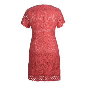 Back view of plus size coral lace overlay dress