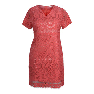 Plus size v -neck coral lace overlay dress