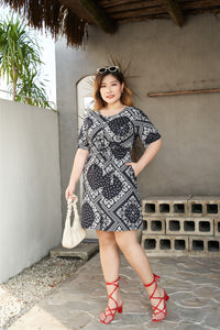 Plus Size Black and White Bandana Print Dress with front buttons and belt