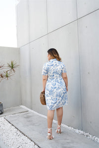 Pretty Pastoral Shirt Dress in Blue