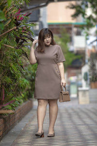 plus size brown a-line work dress with button details