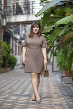 Load image into Gallery viewer, plus size brown a-line work dress with button details