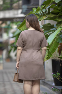 Bouton A-line Dress in Taupe