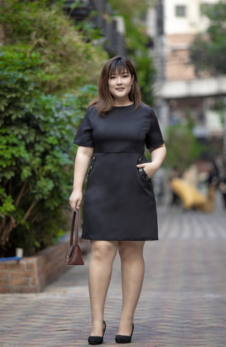 plus size black a-line work dress with button details