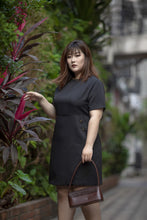 Load image into Gallery viewer, plus size black a-line work dress with button details