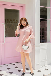 plus size pink a-line dress with bell sleeves and lace detail