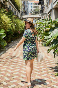 Plus size blue and green heliconia tropical print shift dress