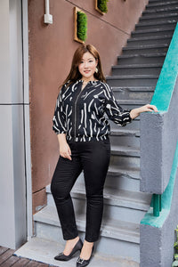 Plus size black and white print light bomber jacket