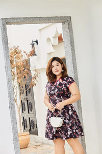 plus size black floral cheongsam qipao inspired fit and flare dress