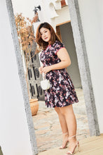 Load image into Gallery viewer, plus size black floral cheongsam qipao inspired fit and flare dress