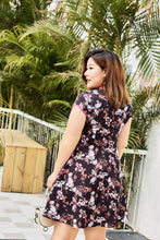 Load image into Gallery viewer, back view of plus size black floral cheongsam qipao inspired fit and flare dress