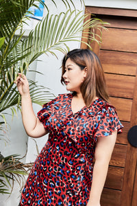 plus size red and blue leopard print faux wrap dress with ruffle details