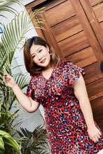 Load image into Gallery viewer, plus size red and blue leopard print faux wrap dress with ruffle details