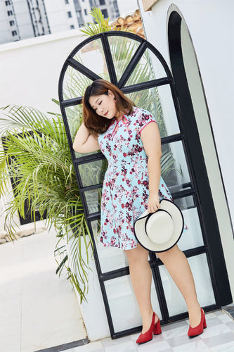 plus size cheongsam qipao inspired fit and flare dress in blue and pink