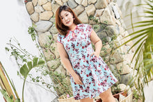 Load image into Gallery viewer, plus size cheongsam qipao inspired fit and flare dress in blue and pink