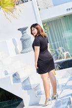 Load image into Gallery viewer, back view of plus size black and gold jacquard panel shift dress