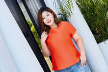 Load image into Gallery viewer, plus size orange top with blue button details