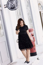 Load image into Gallery viewer, plus size black cocktail dress with mesh skirt
