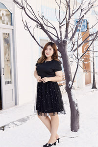 plus size black cocktail dress with mesh skirt
