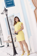 Load image into Gallery viewer, plus size yellow ruffle neck and sleeve shift dress