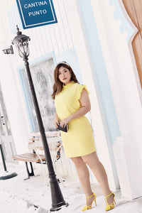 plus size yellow ruffle neck and sleeve shift dress