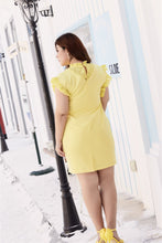 Load image into Gallery viewer, Back view of plus size yellow ruffle neck and sleeve shift dress